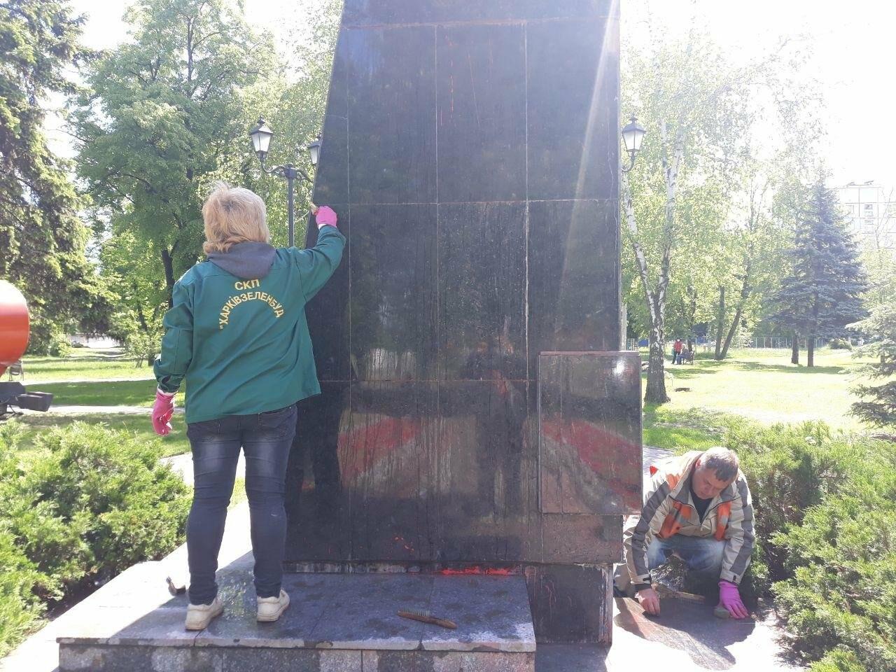В Харькове неизвестные вновь облили красной краской памятник Жукову, - ФОТО, фото-6