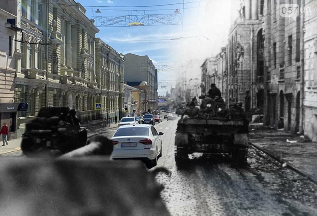 Немецкие танки на улицах и зенитки на площади Свободы: как сегодня выглядят места сражений за Харьков, - ФОТО, фото-8