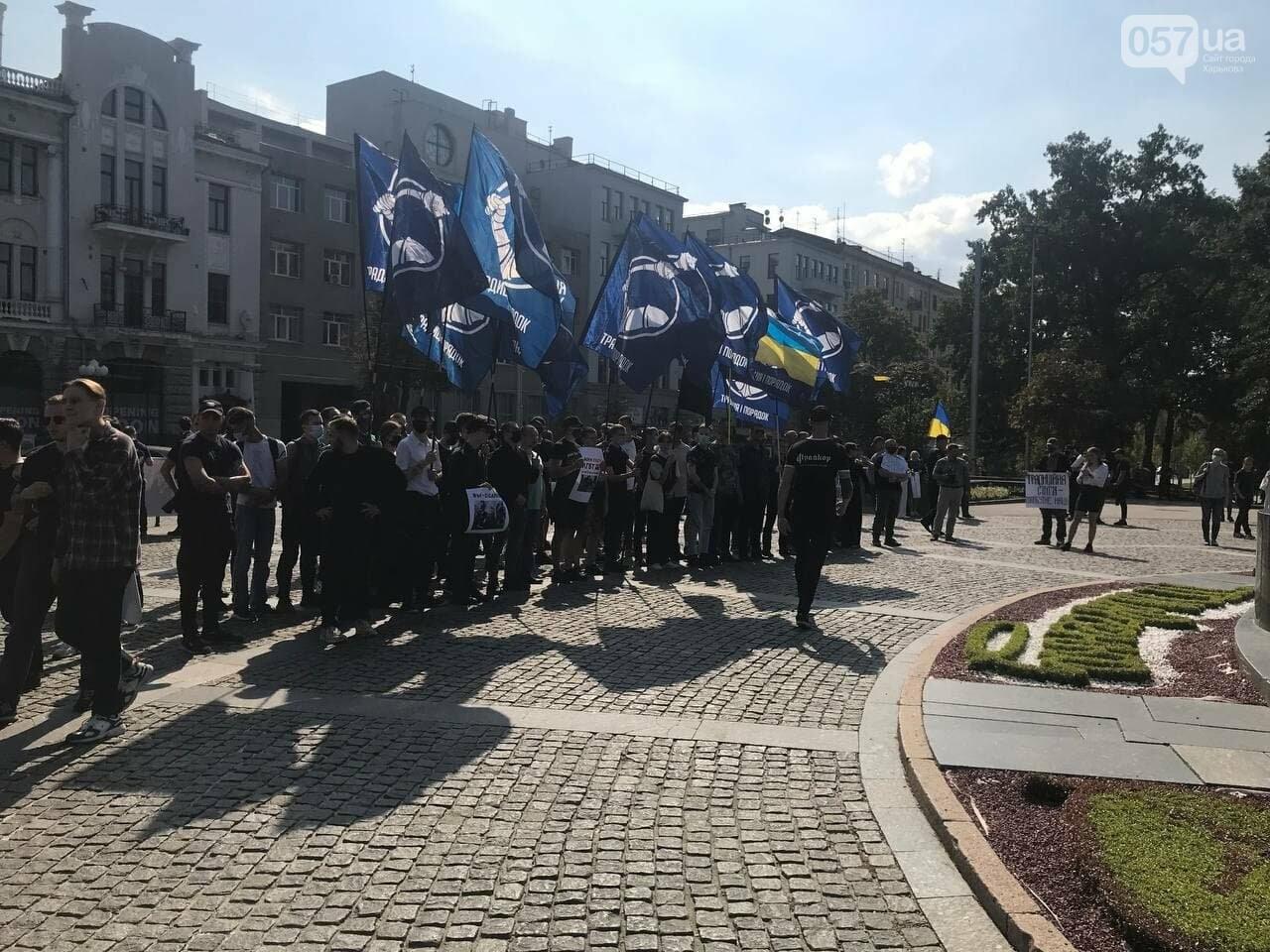 «Связанные» активисты и плакаты напротив дороги: в центре Харькова националисты митинговали против ЛГБТ-марша, - ФОТОРЕПОРТАЖ, фото-1