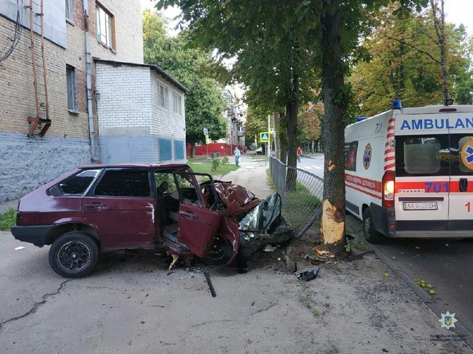 На ХТЗ автомобиль вылетел на тротуар и врезался в дерево, - ФОТО, фото-1