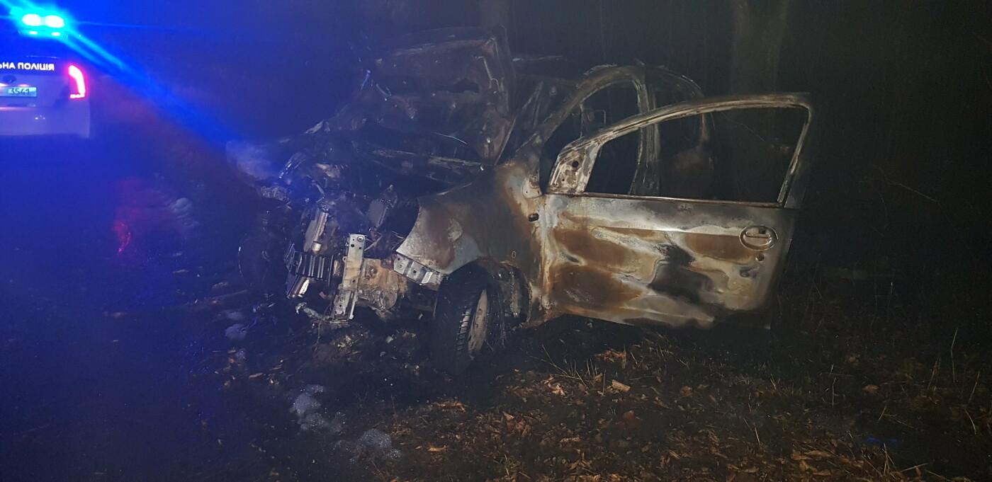 На Харківщині легкове авто в'їхало в дерево та загорілось: постраждали мати і донька, - ФОТО, ВІДЕО, фото-3