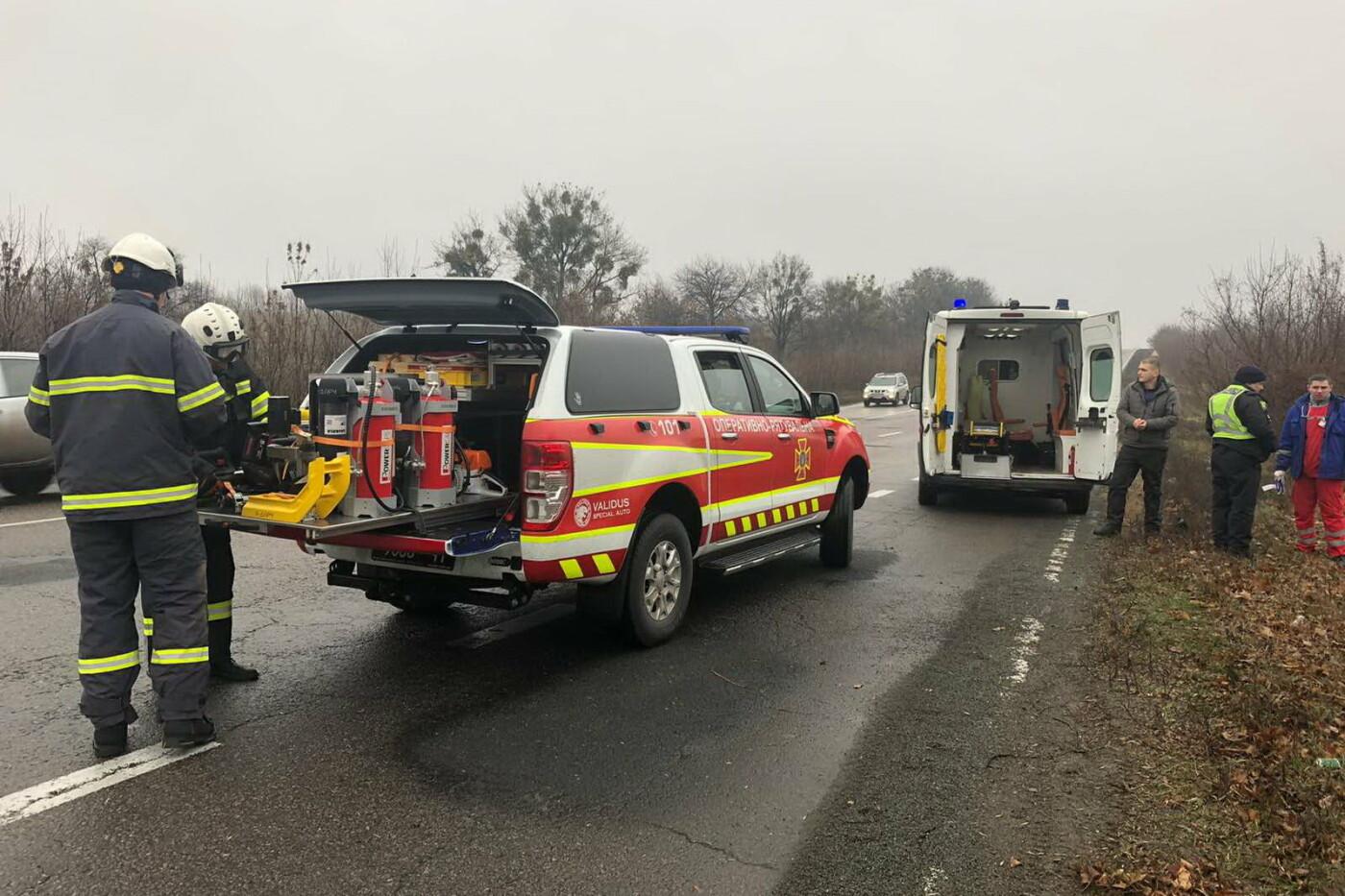 Под Харьковом микроавтобус вылетел в кювет и перевернулся: водителя доставали спасатели, - ФОТО, фото-2