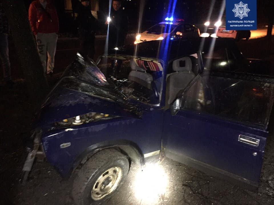 В Харькове легковой автомобиль «влетел» в дерево: водитель в больнице, - ФОТО, фото-1