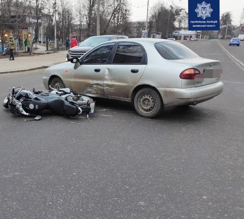 В Харькове мотоциклист «влетел» в бок легкового авто, - ФОТО, фото-1