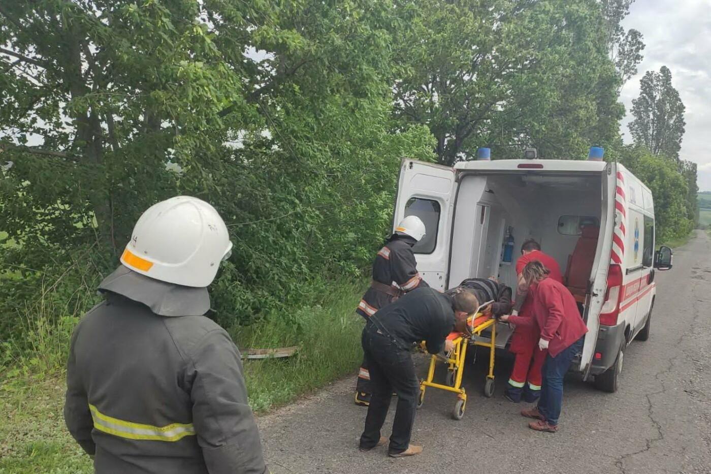 На Харьковщине рейсовый автобус съехал в кювет и «влетел» в дерево: водителя доставали спасатели, - ФОТО, фото-2